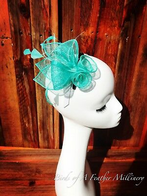 TURQUOISE #46 Small Clip Fascinator Melbourne Cup Wedding Spring Race Party