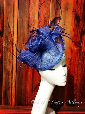 ROYAL BLUE #25 Feather Flower Fascinator Melbourne Cup Wedding Spring Race