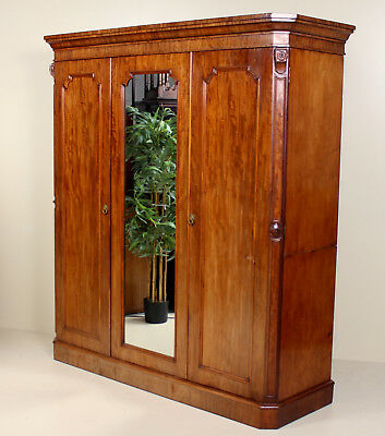 Large Antique Victorian Compactum Wardrobe Mahogany Mirrored Triple Armoire