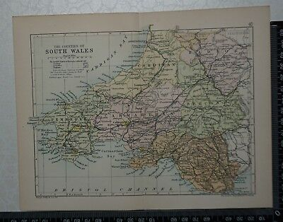 c 1890 - Map - The Counties of South Wales, Glamorgan, Pembroke, Cardigan, etc.