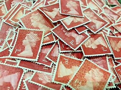 500 1st Class RED Unfranked Stamps Off Paper No Gum Security FV £335 Cheap!!!!