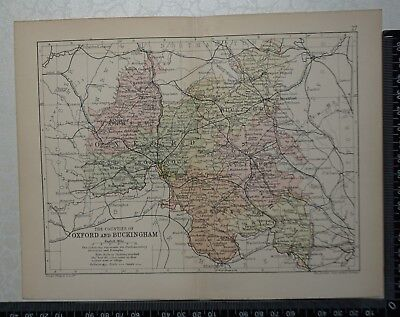 c 1890 - Map - The Counties of Oxfordshire and Buckinghamshire