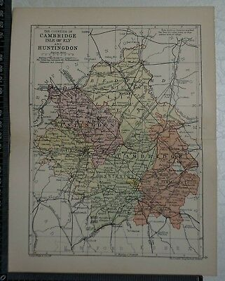 c 1890 - Map - The Counties of Cambridgeshire and Huntingdonshire
