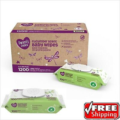 Parent's Choice ® New Cucumber Scent Baby Wipes 12 packs of 100 (1200 ct)