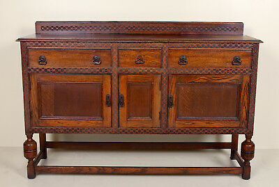 Antique Carved Oak Sideboard Credenza Country Arts & Crafts