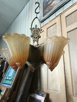 FLA 43 antique art deco five slip shade chandelier 15.5 H by 17.5 W Plus Canopy