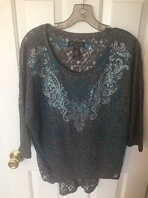 Ladies Shyanne Western Shirt Blouse Size X Large Xl Gray