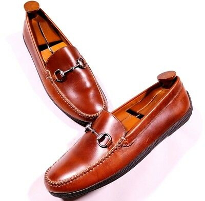 0e8a5046354 Peter Millar Horse Bit Moc Toe Brown Leather Loafers Shoes Size 10 W Men s