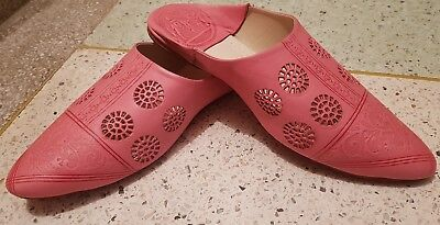 ab8ddbe468a2 MOROCCAN WOMENS LEATHER handmade slippers babouche UK8 (42) PINK 2 ...