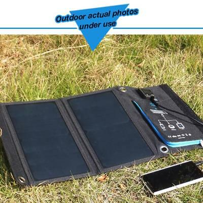 SUNPOWER Foldable Solar Panel Charger Dual USB Ports Mobile Power Bank 15W