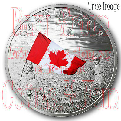 2019 - Canada's National Flag - $20 1 OZ Proof Pure Silver Coloured Coin