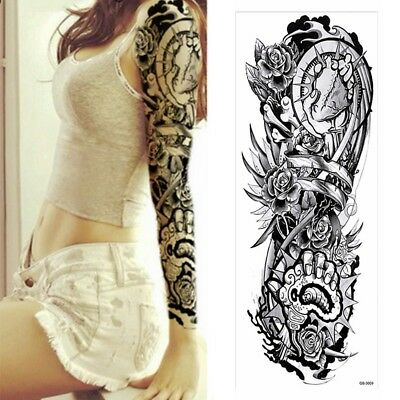 XXL Full Arm Temporäres Tattoo Rosen Gothic Design Körperkunst