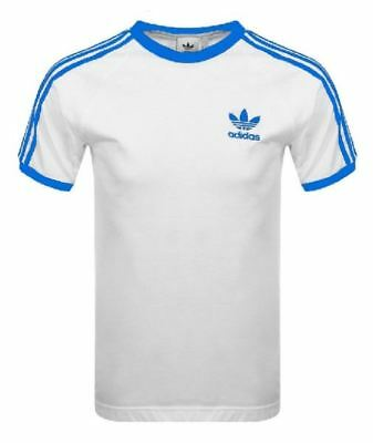 Adidas Originals Mens Trefoil California Tees Crew Neck T Shirt White Blue NEW