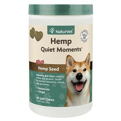 NaturVet HEMP DOG Quiet Moments Calming Aid for Dogs Stress & Tension 60ct Soft
