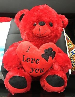 Valentines Gift - Red Teddy Bear With I Love You Heart