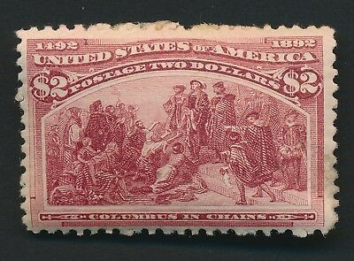 Us #242 1893 $2 Columbian Brown-Red, Mint Og Hinged, Lovely Vibrant Shade
