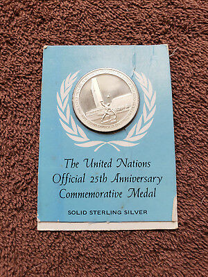 United Nations 25th anniversary commemorative medal. Solid sterling silver