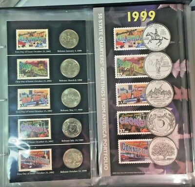 1999-2008 50 State Quarter Greetings From America Coin and Stamp Portfolio Set