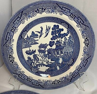 """Churchill Blue Willow Dinner Plates 10.25"""" Made in England set of 4"""