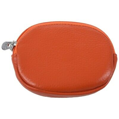 53631c26d4 Womens Leather Mini Wallet Zip Around Coin Purse with Key Ring Orange F6Y8