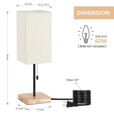 Square Modern Nightstand Lamp Wooden Base Desk Lamp Shade Japanese-Style Lamps