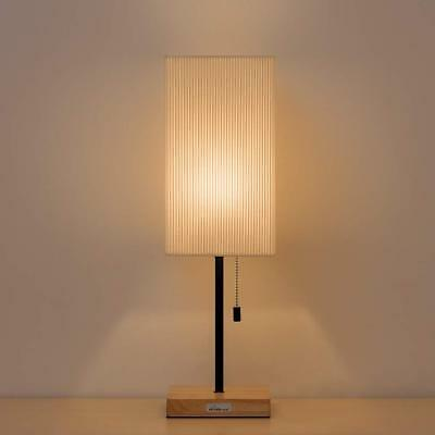 Square Nightstand Wooden Base Bedside Desk Lamp Shade Japanese-Style Modern Lamp