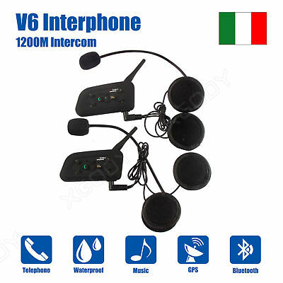 Bluetooth Moto Casco Interfono Cuffie Auricolari 1200M 6 Ciclista Intercom 2pcs