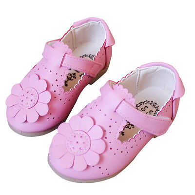 Kids Autumn Spring  Flower Shoes For Girl Leather Solid Hollow Casual Prett P5F7