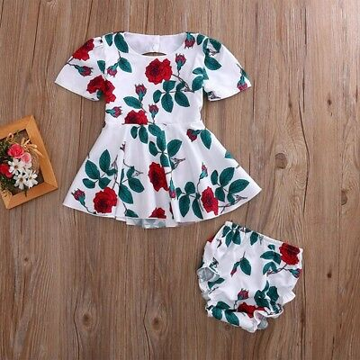 Baby Girls Dress born Toddler Kids Floral Back Hole Dress + Baby Bloomers O C3D5