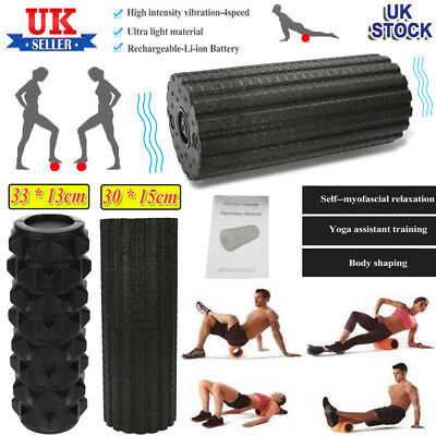 4-Speed Vibration Foam Roller Deep Tissue Muscles Massage Trigger Point Therapy