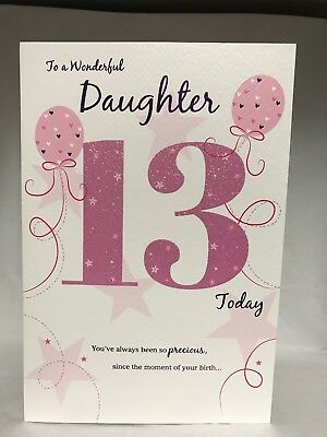 To A Wonderful Daughter 13th Birthday Card