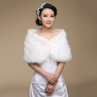 Bridal Faux Fur Coat Jacket Shawl Wedding Cape Wrap Bolero Scalf Shrug Cloak Top
