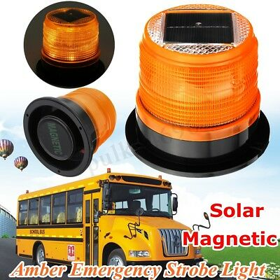 Solar LED Magnetic Warning Flashing Lamp Light Emergency Beacon Car Truck Safety