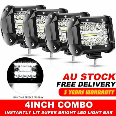 "4X 200W 4"" inch Work Lights CREE Spot Flood LED Light Bar Reverse 4WD 12V 24V"