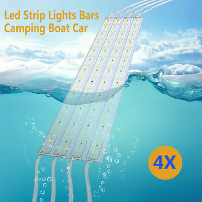 4PCS Waterproof Cool White 5630 LED Strip Lights Bars Camping Boat Car & Remote