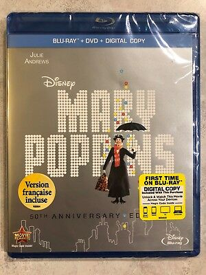 Disney Mary Poppins 50th Anniversary Blu-ray + DVD Canadian Bilingual *LOOK*