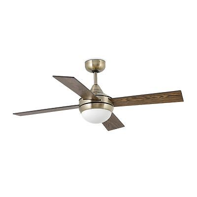 Faro Mini - Small Ceiling Fan Brown, Antique Brass with Light - 33695