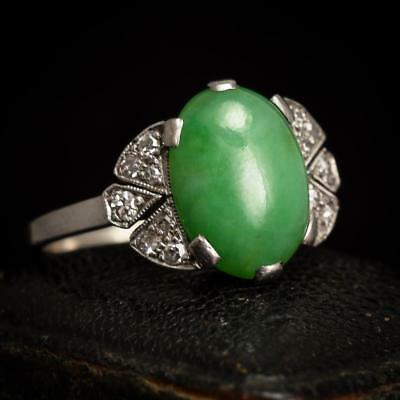 Art Deco Jade & Diamond Cocktail Ring 18k White Gold c1930