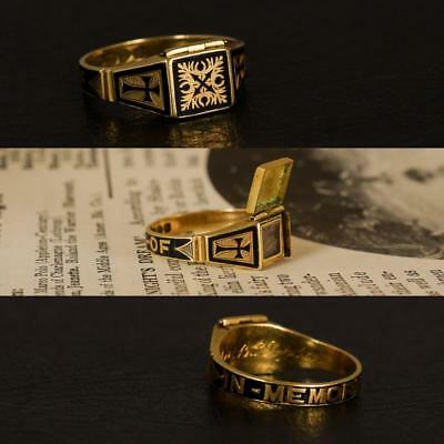 Late Victorian IN MEMORY OF Locket Mourning Ring 18k Gold c1895