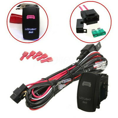 LED Light Bar Driving Work Fog Lamp Wiring Loom Harness Kit 12V 40A Switch Relay