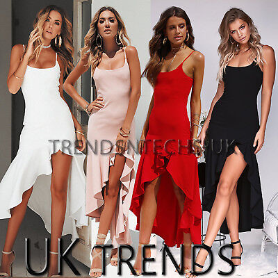 Womens Asymmetric Frill Maxi Dress Strappy Bodycon Slit Mermaid Christmas 6-14