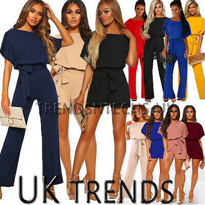 Womens Batwing Sleeve Jumpsuits Tie Waist Wide Leg Trousers Playsuit UK Size6-14