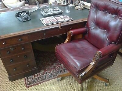 Georgian  Style  Partners Desk  In Mahogany Probably Victorian,   Cupboards Etc