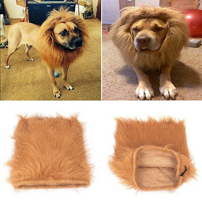 Pet Dog Cat Costume Lion Mane Wig Hair For Halloween Clothes Fancy Dress Up SPE
