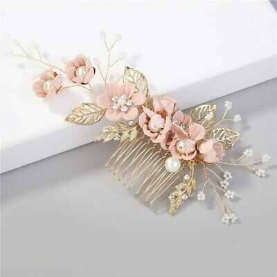 Bridal gold with blush pink flowers hair comb