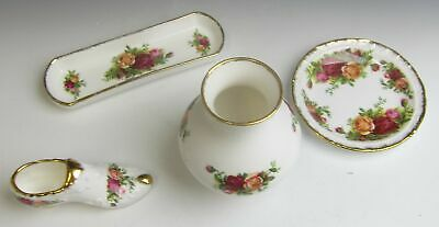 Lot of 4 Royal Albert China OLD COUNTRY ROSES Giftware Pieces MIXED CONDITION