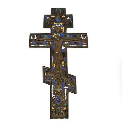 Altar cross, bronze, enamel. Russian Empire (Russia), 19th century.