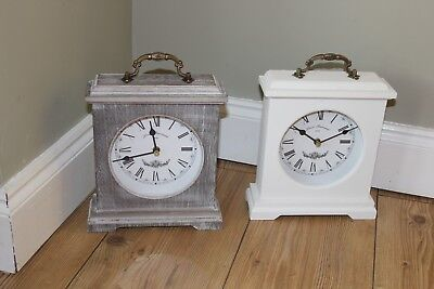 Shabby Chic Mantle ,dressing Table Etc Clock,washed Grey Or White