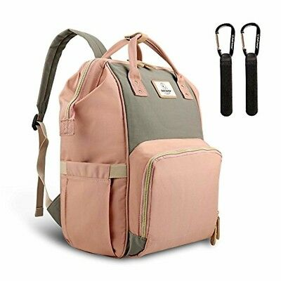 Baby Nappy Changing Backpack Bag Large Capacity Pink-Grey Infant Born Accessory