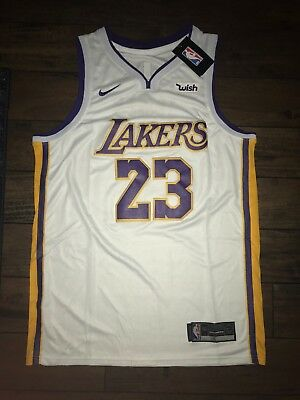 LeBron James Lakers Jersey Los Angeles Men Adult White Purple  23 STITCHED  NWT fe6e3b1d6
